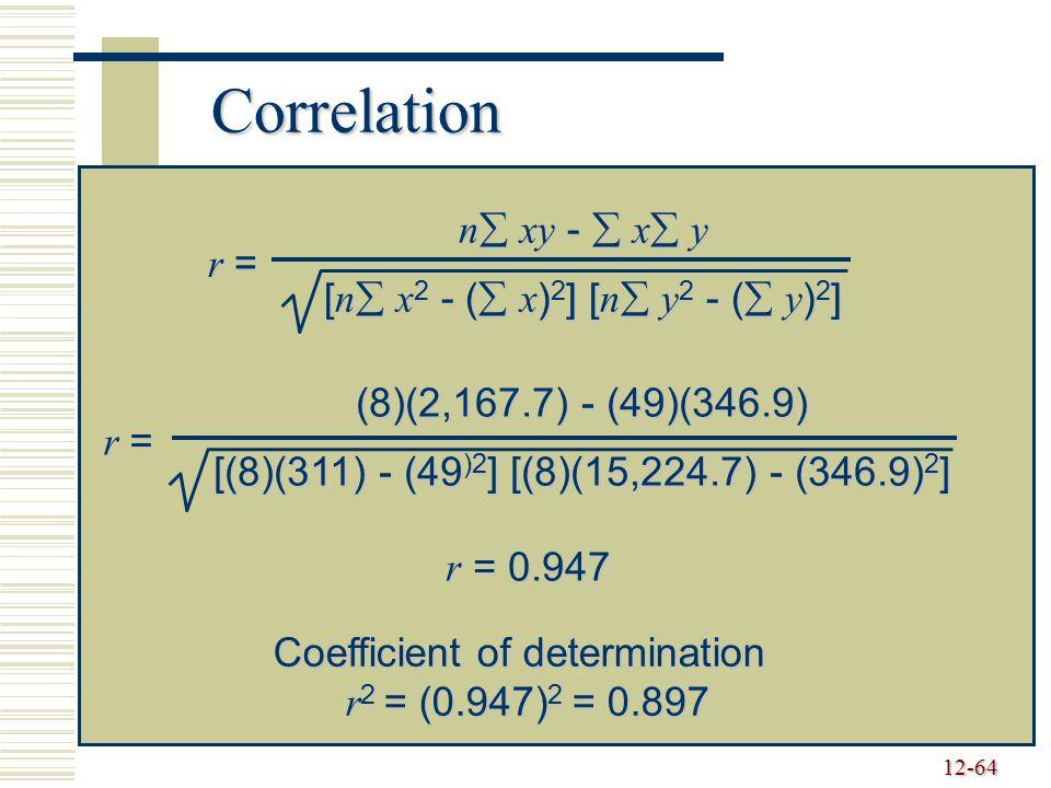 Correlation n xy -  x y [n x2 - ( x)2] [n y2 - ( y)2] r =